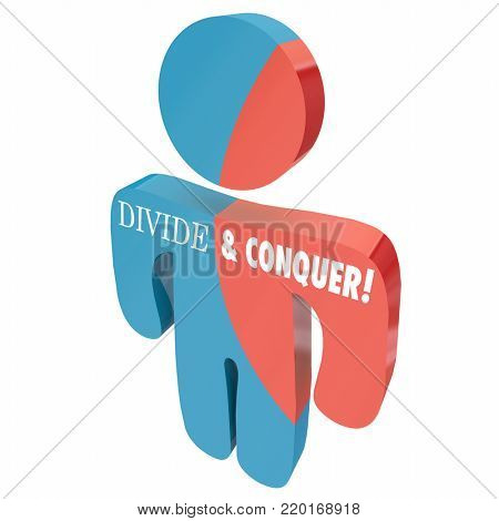 Divide and Conquer Person Competitor People 3d Illustration