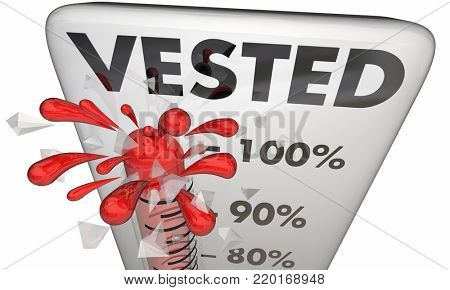 Vested Thermometer Investment Stock Options Fully Complete 3d Illustration