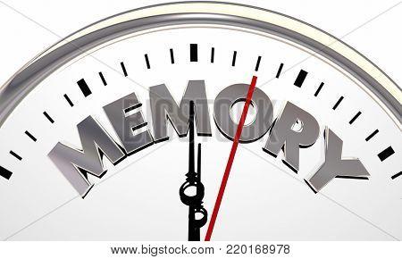Memory Time Passing Clock Losing Memories 3d Illustration