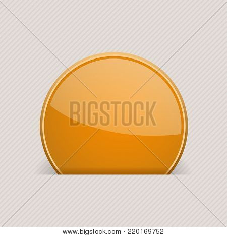 Orange round label partially hidden in paper hole. Vector 3d illustration