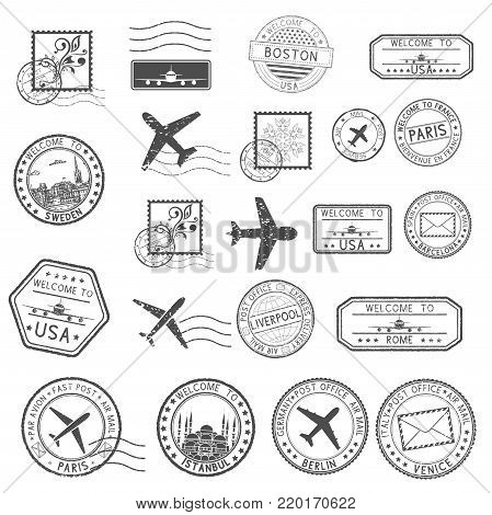 Post stamps. Set of black postmarks and travel Welcome stamps. Vector illustration isolated on white background