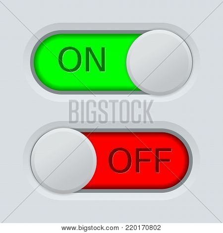 Toggle switch. On and Off. On light gray background. Vector illustration