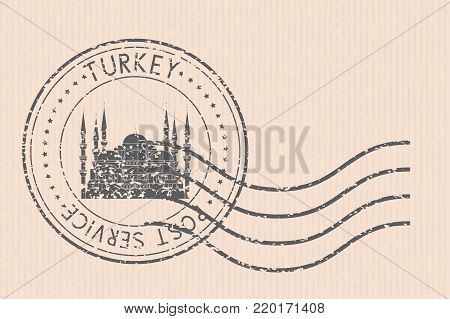 Post office round postmark with Blue mosque black icon. Istanbul, Turkey. Partially faded. Vector illustration on beige striped background