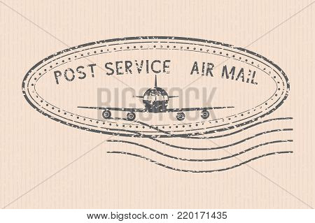 Post service air mail stamp with airplane black icon. Partially faded. Vector illustration on beige striped background