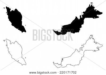 Malaysia map vector illustration, scribble sketch Malaysia