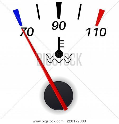 Car temperature indication. Low sign. Vector illustration isolated on white background