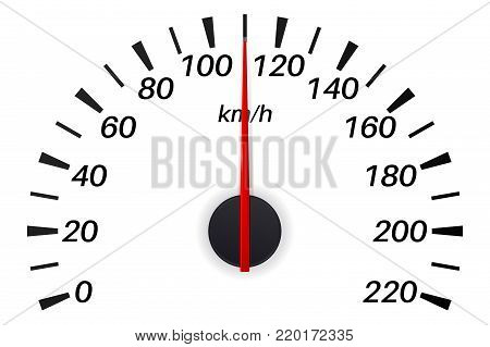 Speedometer scale in kilometers. Vector illustration isolated on white background