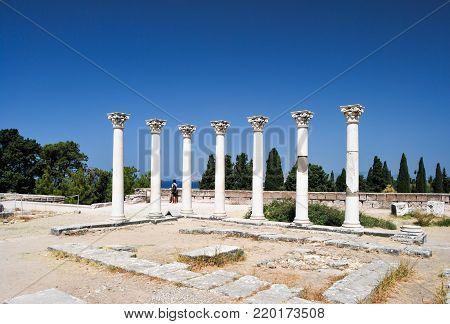 Ancient Greek Columns, Asklepion of Kos island. Greece.