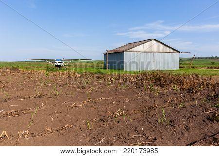 Grass Airstrip Aircraft Hangar Farm