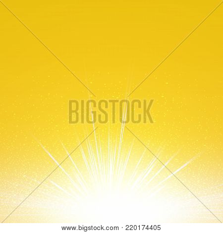 Yellow cosmic and vector explode, Abstract lightning storm and particles bright background.