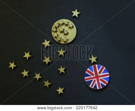 Christmas tree with euro coin and British coin, Brexit disintegration concept