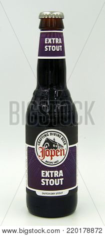 Amsterdam, The Netherlands - December 31, 2017: Bottle of Jopen Extra Stout. This beer is a Dry Stout styled beer brewed by Jopen, Haarlem, The Netherlands.