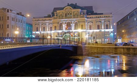 ST. PETERSBURG, RUSSIA - DECEMBER 24, 2017: Building of Tovstonogov Bolshoi Drama Theater on Fontanka river. The building erected in 1876-1878 by design of L. Fontana