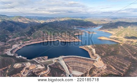 Aerial. Reservoir dam Odelouca of drinking water in the Algarve region of Portugal. Monchique.