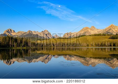 Sawtooth Mountains reflected in Little Redfish Lake, near Sun Valley, Idaho