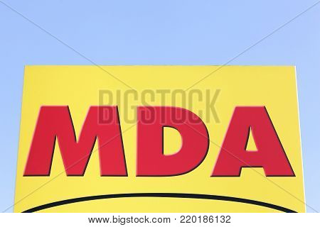 Saint Egreve, France - June 25, 2017: MDA logo on a panel. MDA is specialising in home appliance retailing and operates across France with 800 stores