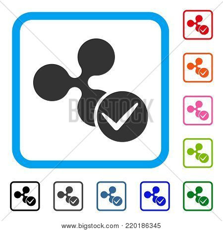 Accept Ripple icon. Flat grey iconic symbol in a blue rounded frame. Black, gray, green, blue, red, orange color additional versions of Accept Ripple vector. Designed for web and app interfaces.
