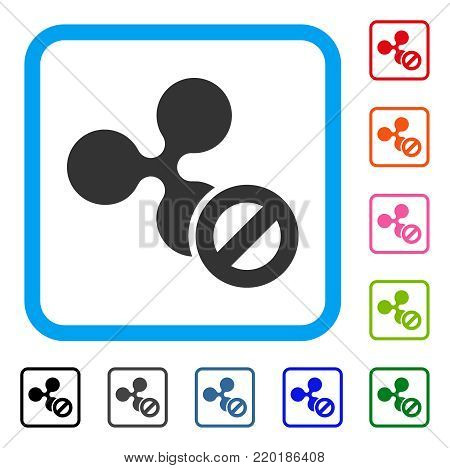 Cancel Ripple icon. Flat gray iconic symbol inside a blue rounded rectangle. Black, gray, green, blue, red, orange color versions of Cancel Ripple vector. Designed for web and software UI.