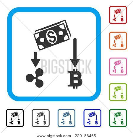 Cryptocurrency Cashflow icon. Flat grey pictogram symbol inside a blue rounded square. Black, gray, green, blue, red, orange color variants of Cryptocurrency Cashflow vector.