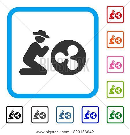 Gentleman Pray Ripple Coin icon. Flat grey pictogram symbol inside a blue rounded frame. Black, gray, green, blue, red, orange color versions of Gentleman Pray Ripple Coin vector.
