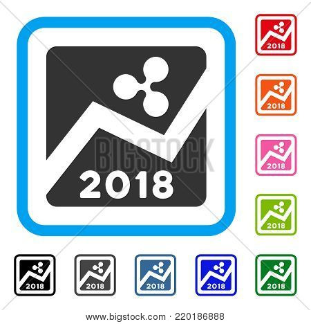 Ripple 2018 Exchange Market icon. Flat grey pictogram symbol inside a blue rounded rectangle. Black, gray, green, blue, red, orange color additional versions of Ripple 2018 Exchange Market vector.