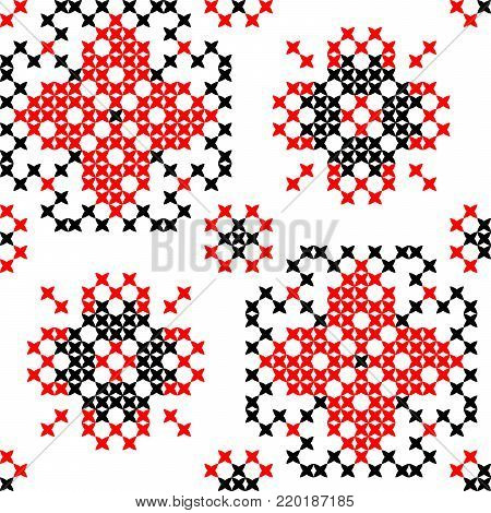 Seamless embroidered texture of abstract flat patterns, cross-stitch, ornament for tablecloth
