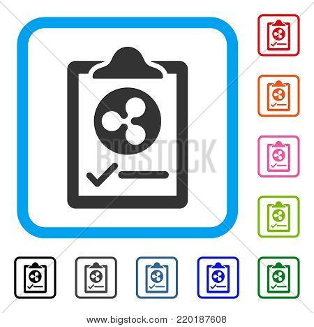 Ripple Contract Pad icon. Flat gray pictogram symbol in a blue rounded frame. Black, gray, green, blue, red, orange color additional versions of Ripple Contract Pad vector.