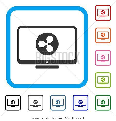 Ripple Display icon. Flat gray iconic symbol inside a blue rounded rectangle. Black, gray, green, blue, red, orange color versions of Ripple Display vector. Designed for web and software interfaces.