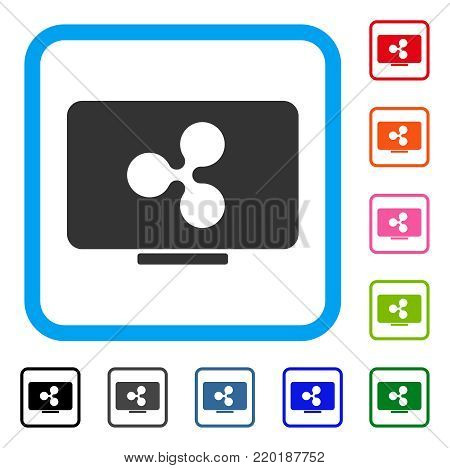 Ripple Display icon. Flat grey pictogram symbol inside a blue rounded rectangular frame. Black, gray, green, blue, red, orange color additional versions of Ripple Display vector.