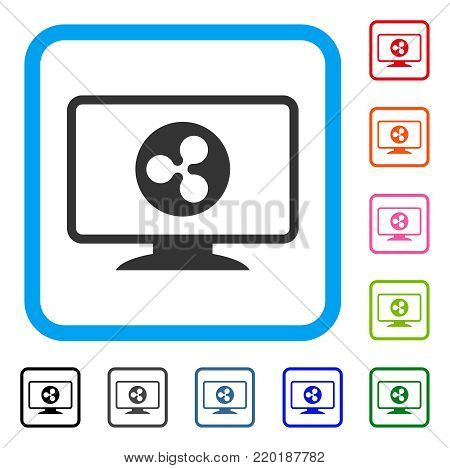 Ripple Display icon. Flat grey pictogram symbol inside a blue rounded rectangle. Black, gray, green, blue, red, orange color versions of Ripple Display vector. Designed for web and app UI.