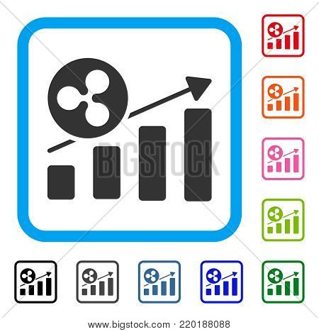 Ripple Growing Bar Chart icon. Flat grey iconic symbol inside a blue rounded squared frame. Black, gray, green, blue, red, orange color variants of Ripple Growing Bar Chart vector.