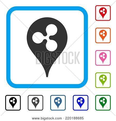 Ripple Pointer icon. Flat grey iconic symbol inside a blue rounded frame. Black, gray, green, blue, red, orange color versions of Ripple Pointer vector. Designed for web and application UI.