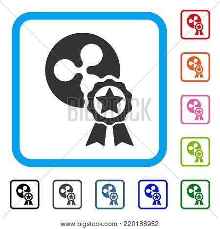 Ripple Reward icon. Flat grey iconic symbol inside a blue rounded squared frame. Black, gray, green, blue, red, orange color versions of Ripple Reward vector.