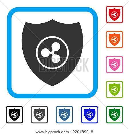 Ripple Shield icon. Flat gray iconic symbol inside a blue rounded rectangle. Black, gray, green, blue, red, orange color versions of Ripple Shield vector. Designed for web and app interfaces.