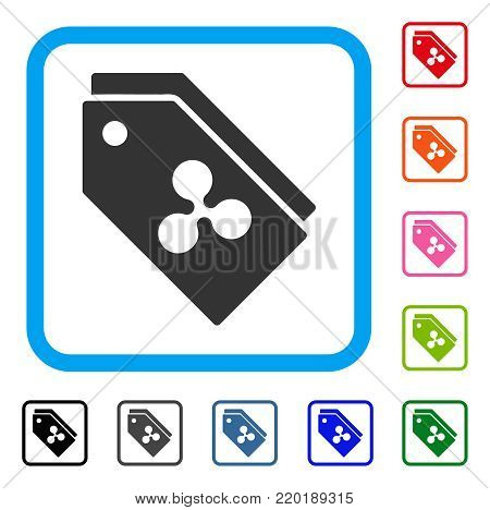 Ripple Tokens icon. Flat gray pictogram symbol inside a blue rounded squared frame. Black, gray, green, blue, red, orange color versions of Ripple Tokens vector. Designed for web and application UI.