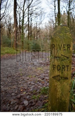 Wooden sign post indicating the directions to a river and a fort within a woodland footpath setting in Hembury Woods near Buckfast in Devon, UK.