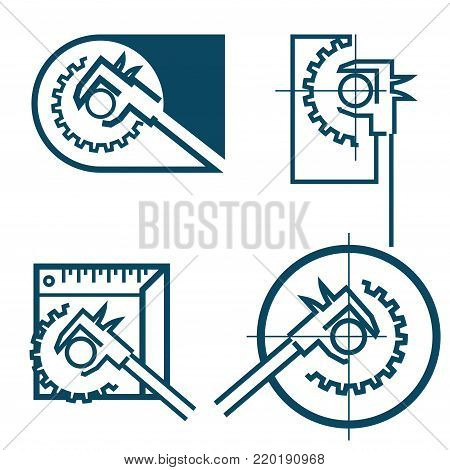 four illustrations consisting of an image of a caliper and a gear in the form of a symbol or logo