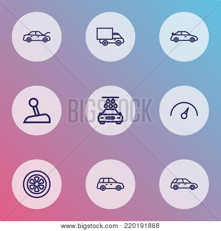 Auto icons line style set with lorry, chronometer, washing and other wheel  elements. Isolated vector illustration auto icons.