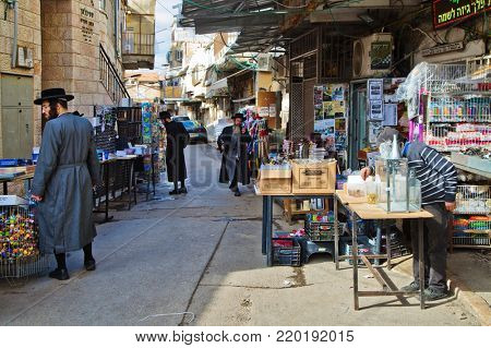 JERUSALEM, ISRAEL - DECEMBER 29, 2016: Mea Shearim quarter one of oldest districts in Jerusalem. quarter was founded in 1874 by representatives of religious community Zalman Baharan and Joseph Rivlin