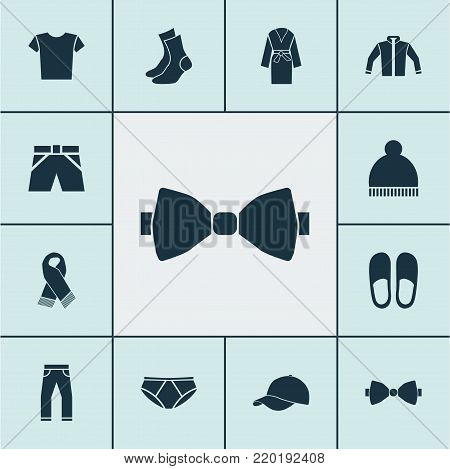 Dress icons set with necktie, evening gown, casual and other necktie elements. Isolated vector illustration dress icons.