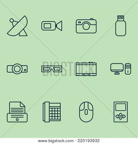 Gadget icons set with gadget, spectacles, presentation and other printer elements. Isolated  illustration gadget icons.
