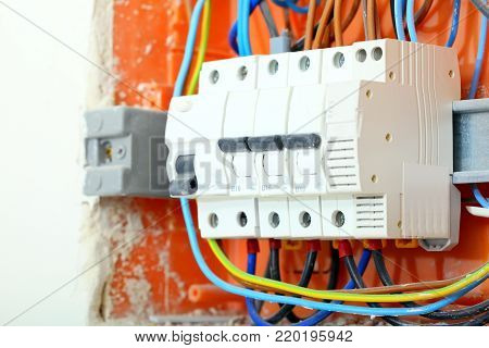 Electrical installation. Close up electrical panel electricity distribution box with wires fuses and contactors