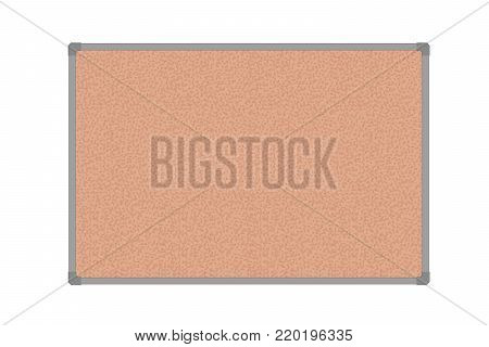 Cork board with plastic frame, isolated on white background - vector
