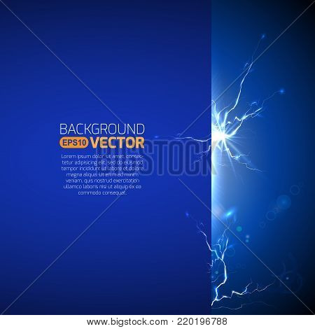 Blank template with electric discharge, thunderstorm banner