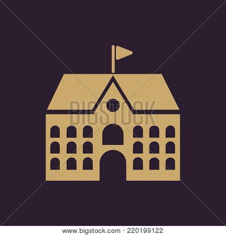 School icon. Campus and university, building symbol. Flat design. Stock - Vector illustration