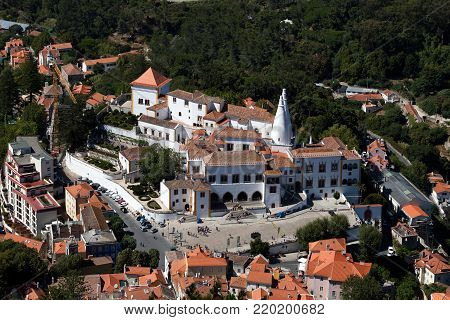 Sintra, Portugal, August 8, 2017: The Palace of Sintra, considered the best-preserved medieval royal residence in Portugal, being continuously inhabited from 15th to the late 19th century, designated UNESCO World Heritage Site.