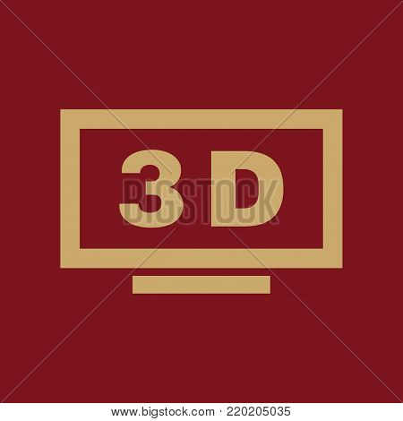 3D TV icon. Television and display, televisor symbol. Flat design. Stock - Vector illustration
