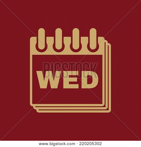 Wednesday icon. Wed and calendar, data symbol. Flat design. Stock - Vector illustration