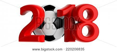 New year 2018 with soccer football ball isolated on white background. 3d illustration