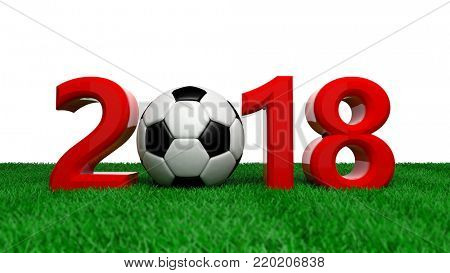 New year 2018 with soccer football ball on grass, white background. 3d illustration